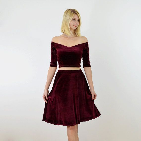 f38d1bcdd8 Coco 2-Piece Stretch Velvet Dress Outfit. Off Shoulder Crop Top with ...