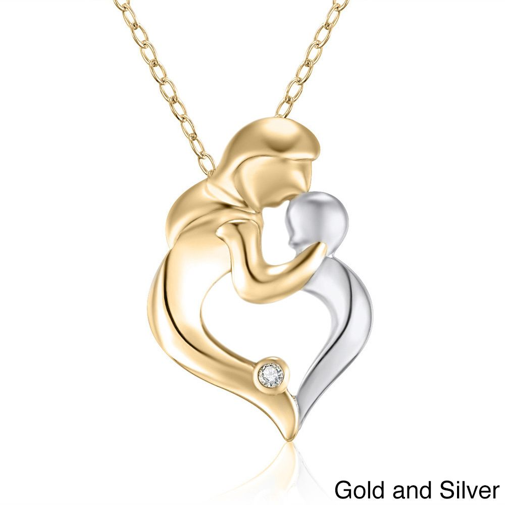 Sterling silver diamond accent 18 inch mother and child pendant sterling silver diamond accent 18 inch mother and child pendant necklace aloadofball Image collections