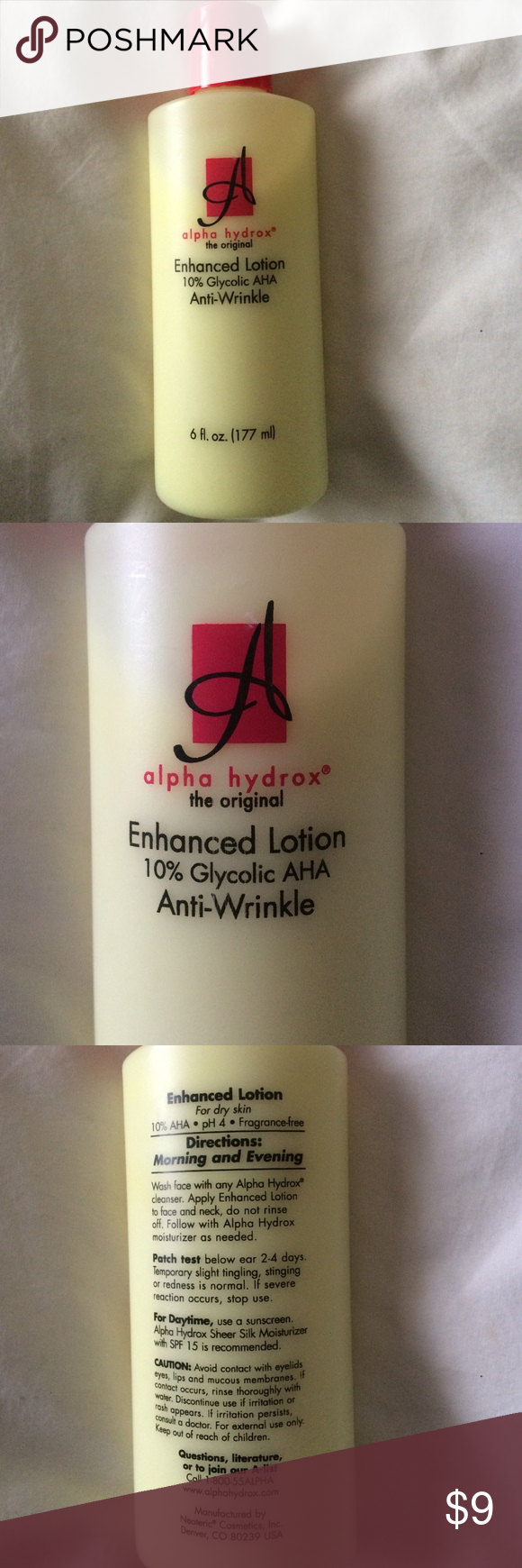 Alpha Hydrox Enhanced Lotion 10 Glycolic Aha Anti Wrinkle Lotion Lotion Forehead Wrinkles