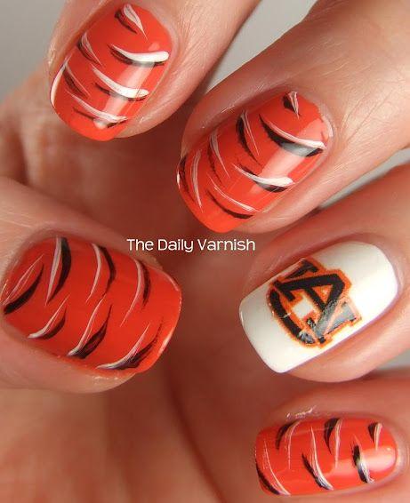 Tiger striped nails design google search auburnwar eagle tiger striped nails design google search prinsesfo Choice Image