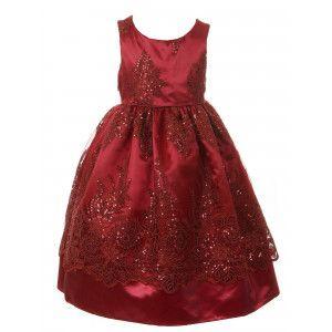54910052b Big Girls Burgundy Sparkle Sequin Adorned Lace Satin Christmas Dress 8-10