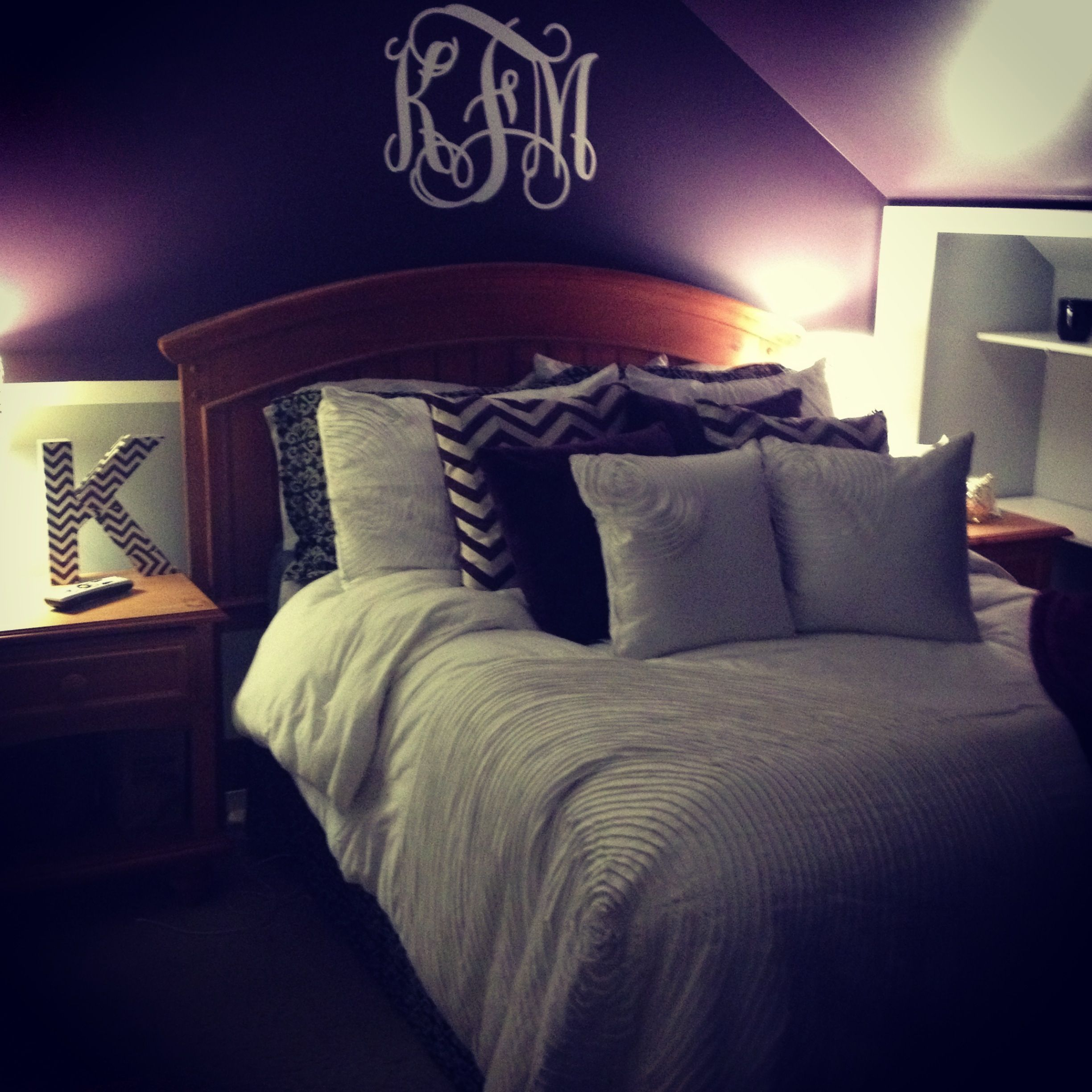 My bedroom  Dark purple walls  chair rail and light grey bottom  Monogram  above. My bedroom  Dark purple walls  chair rail and light grey bottom