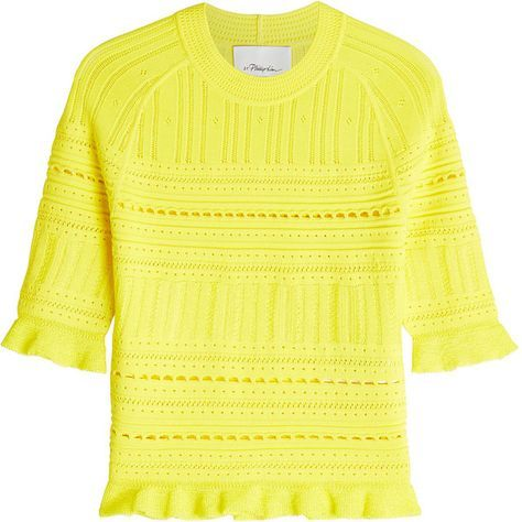 3.1 Phillip Lim Crochet Knit Top (21.655 RUB) ❤ liked on Polyvore featuring tops, yellow, frill top, knit top, macrame top, yellow top and flutter-sleeve top