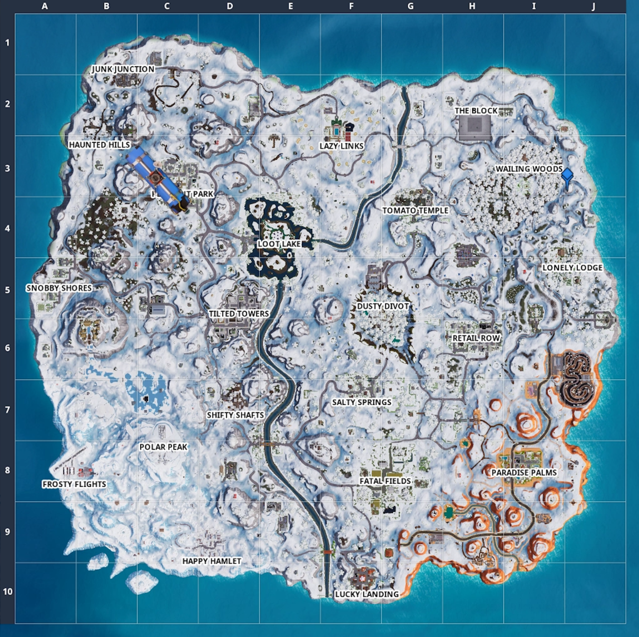 Fortnite Location Guide Where To Search Between Hatch Giant Rock