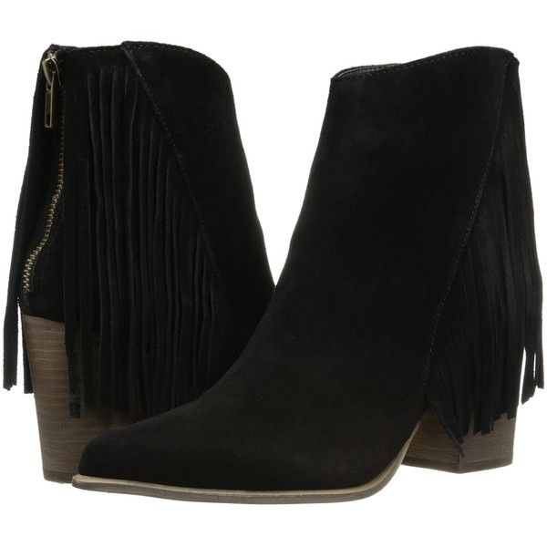 Steve Madden Countryy (Black Suede) Women's Dress Zip Boots ($65) ❤ liked
