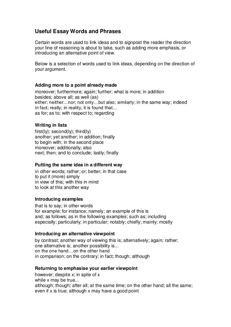 Useful Argumentative Essay Words And Phrases By Englishbites Via