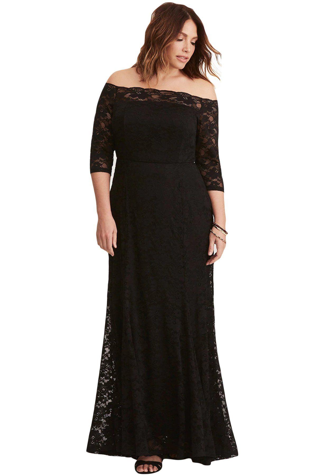 Black plus size lace off shoulder party maxi dress plus size party