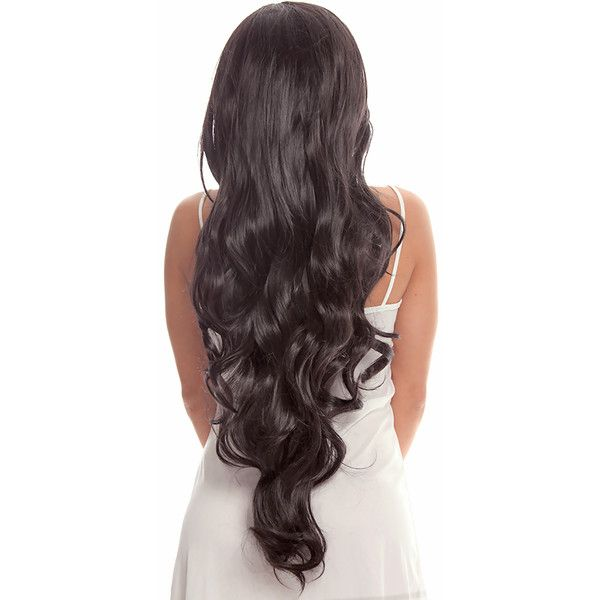 black long wavy costume hair wig ($50) ❤ liked on Polyvore featuring costumes, black, black costume, black halloween costumes and wig costumes