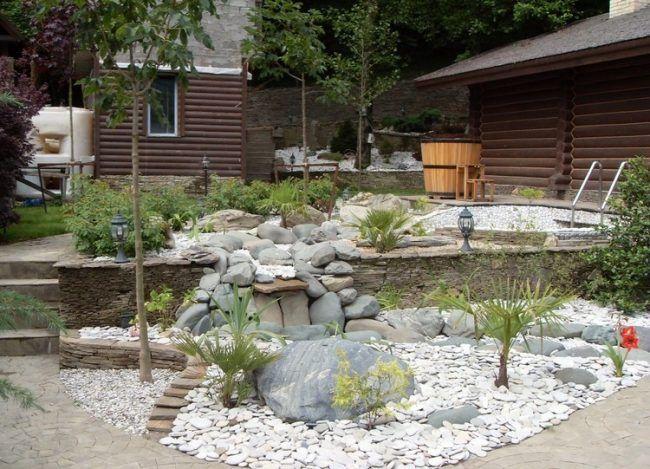 Steinbeet Gestaltung Steingarten Graue Felsen Palmen Steinbeet Pflanzen Pflanzengestaltung
