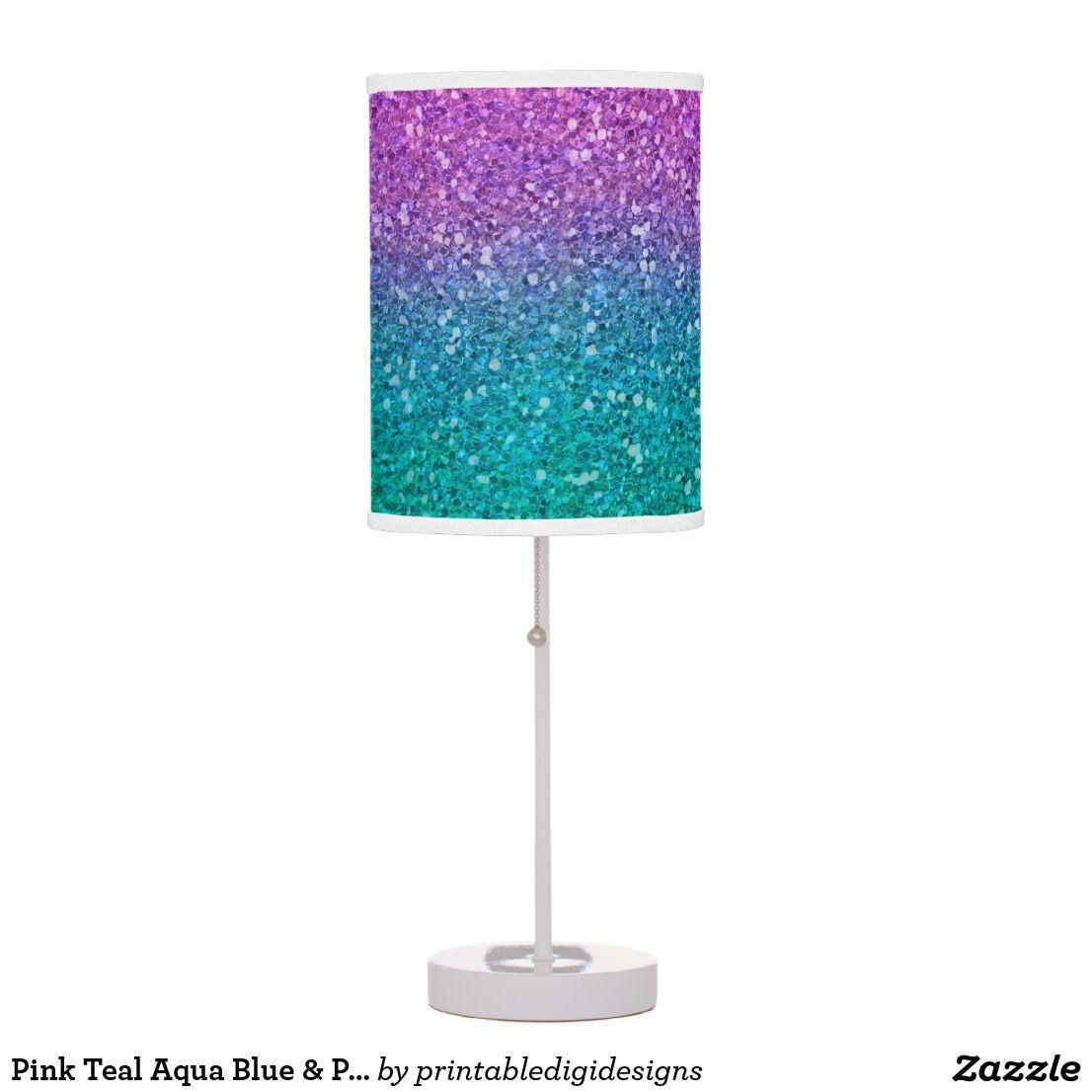 Pink Teal Aqua Blue & Purple Sparkly Glitter Table Lamp ...