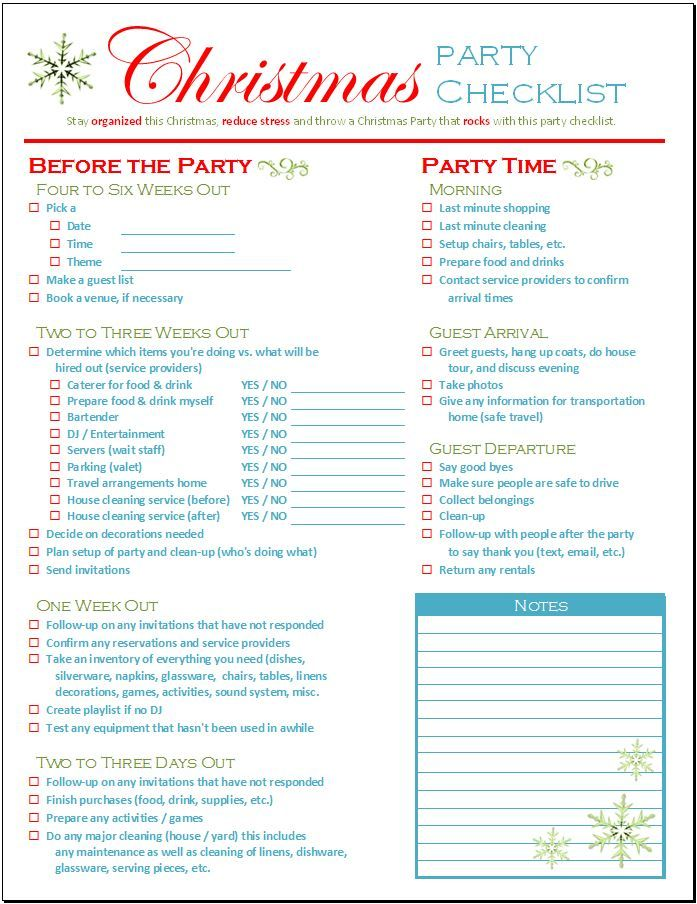 christmas party checklist lists templates pinterest christmas