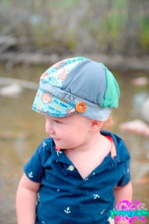 child sized Jax Hat monkeying around made from by jaxhatsmontana (Accessories, Hat, Cap, recycled, jax, upcycled, eco earth friendly, one of a kind, green, earth friendly, Heatherbee photo, child hat, boy hat, green stripe, monkeys, monkey)