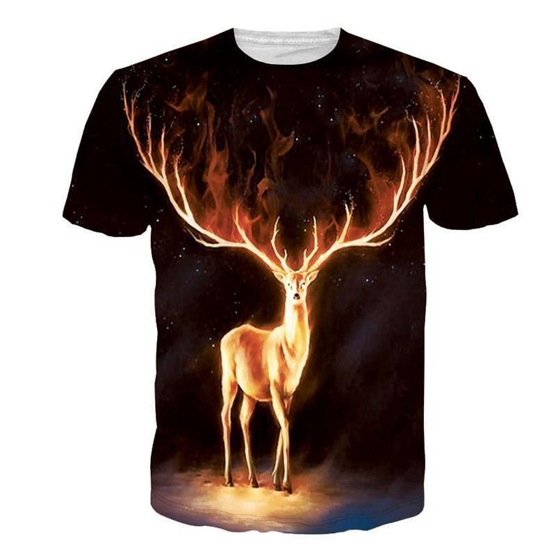 3868d769ac63 Elk Painted Cotton Short Sleeves 3D Print T Shirt