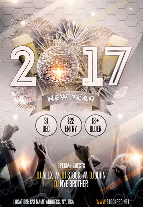 New Year 2017 Gold Party Free Flyer Template | Menu Tasarımları