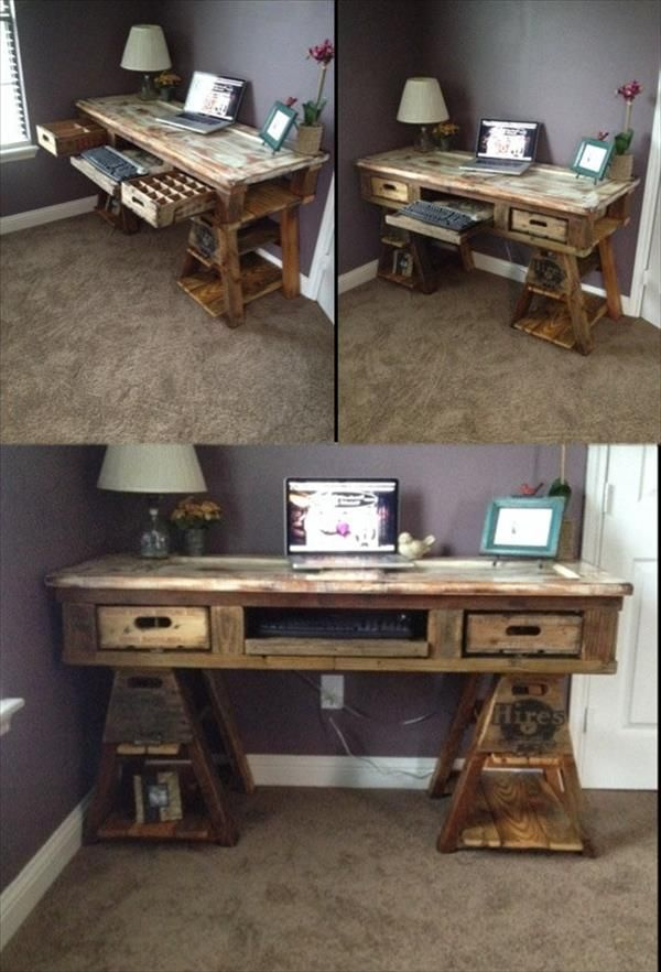 22 Diy Computer Desk Ideas That Make More Spirit Work Pallet Diy Wood Pallets Diy Computer Desk