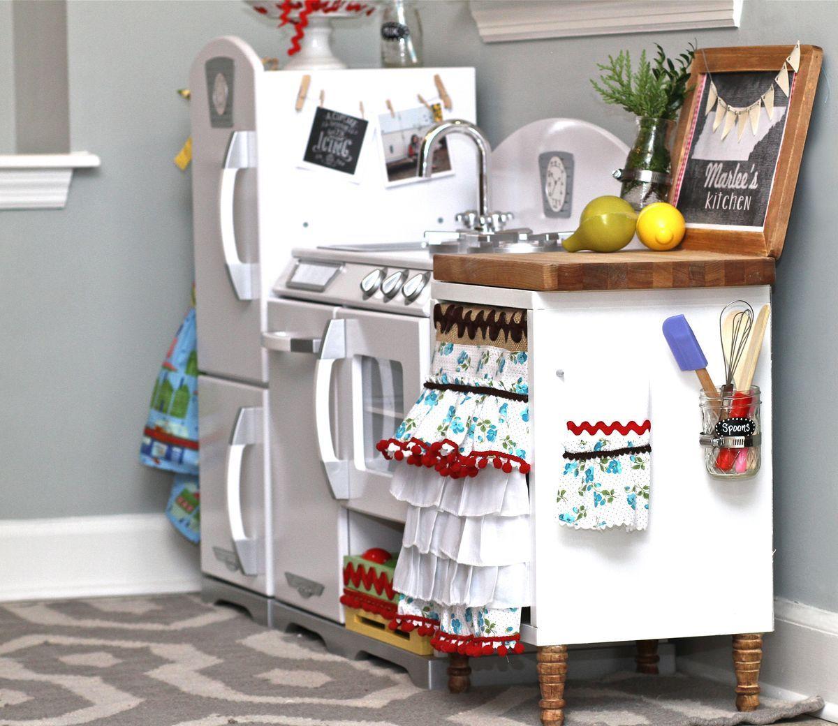 Idea To Add Extra Counter Space To Elz Kitchen Kidkraft Retro Kitchen Diy Play Kitchen Kidkraft Kitchen