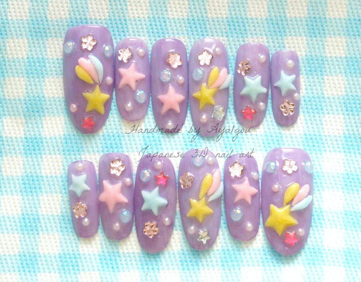 Kawaii 3D nails, fairy kei, lilac sweet lolita, japanese, stars ...