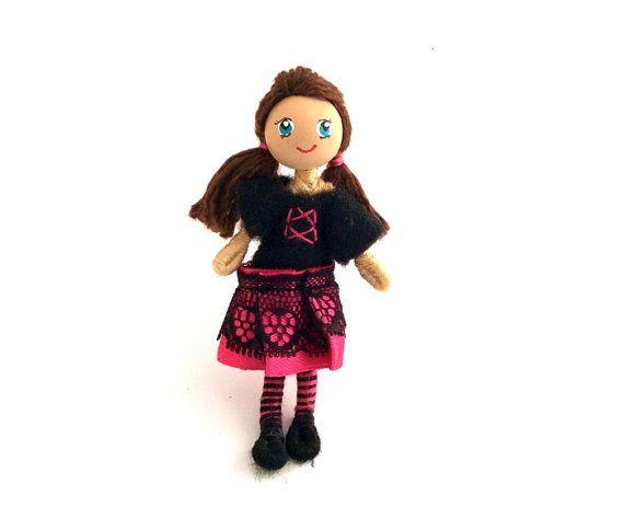 Bendable Doll Poseable Little People Dollhouse Doll by Quinnipeg, $10.00  #etsy #doll #handmade #girldoll #femaledoll