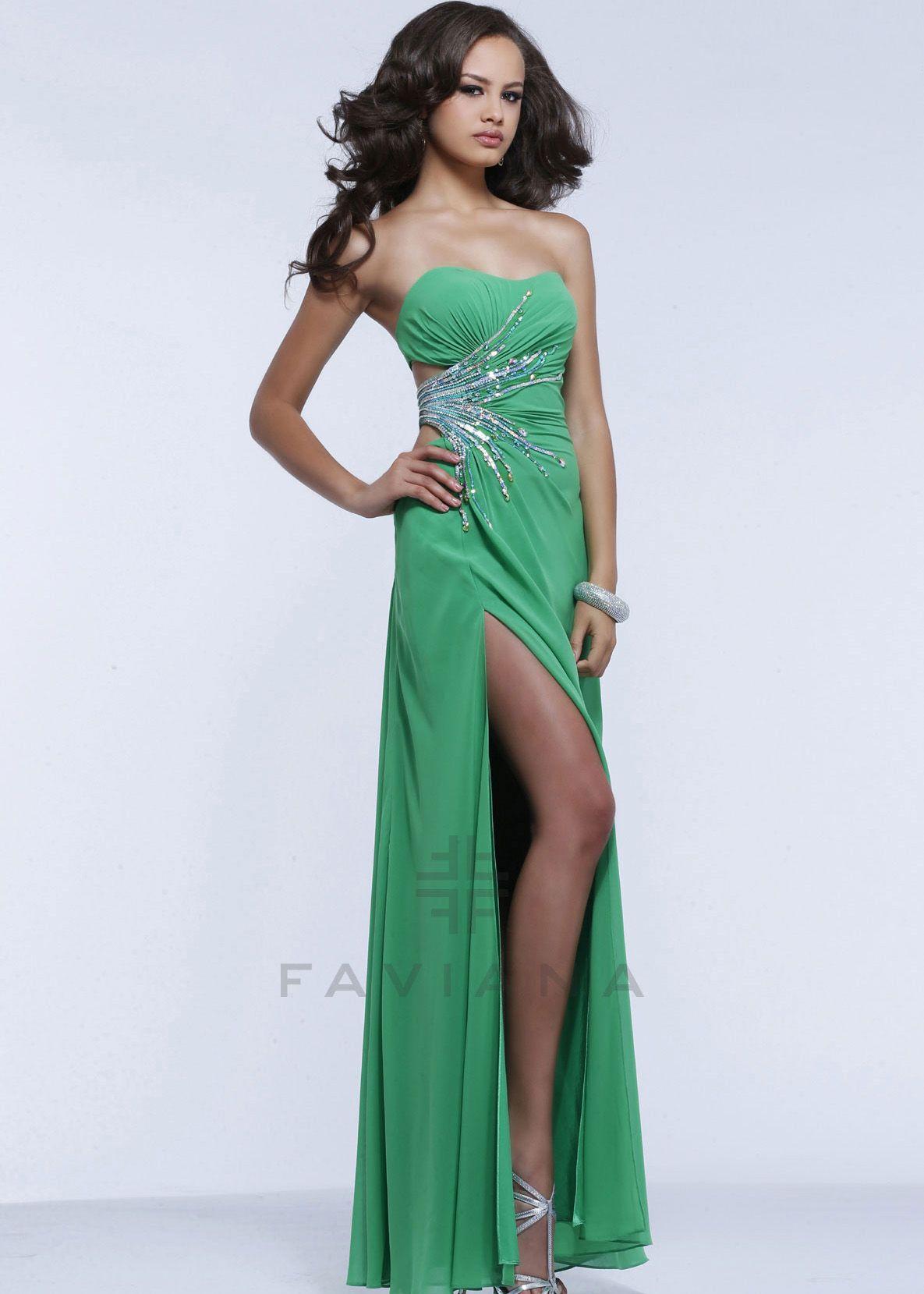 Faviana 7350 - Kelly Green Strapless Chiffon Prom Dresses Online ...