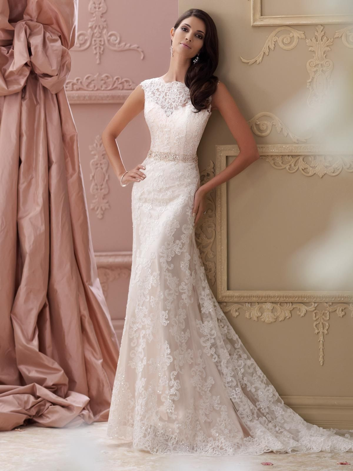 sleeveless slim a-line wedding dress with lace bateau neckline ...
