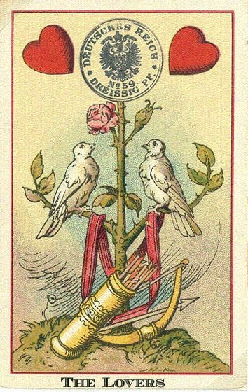 the lovers  playing cards design vintage tarot card art