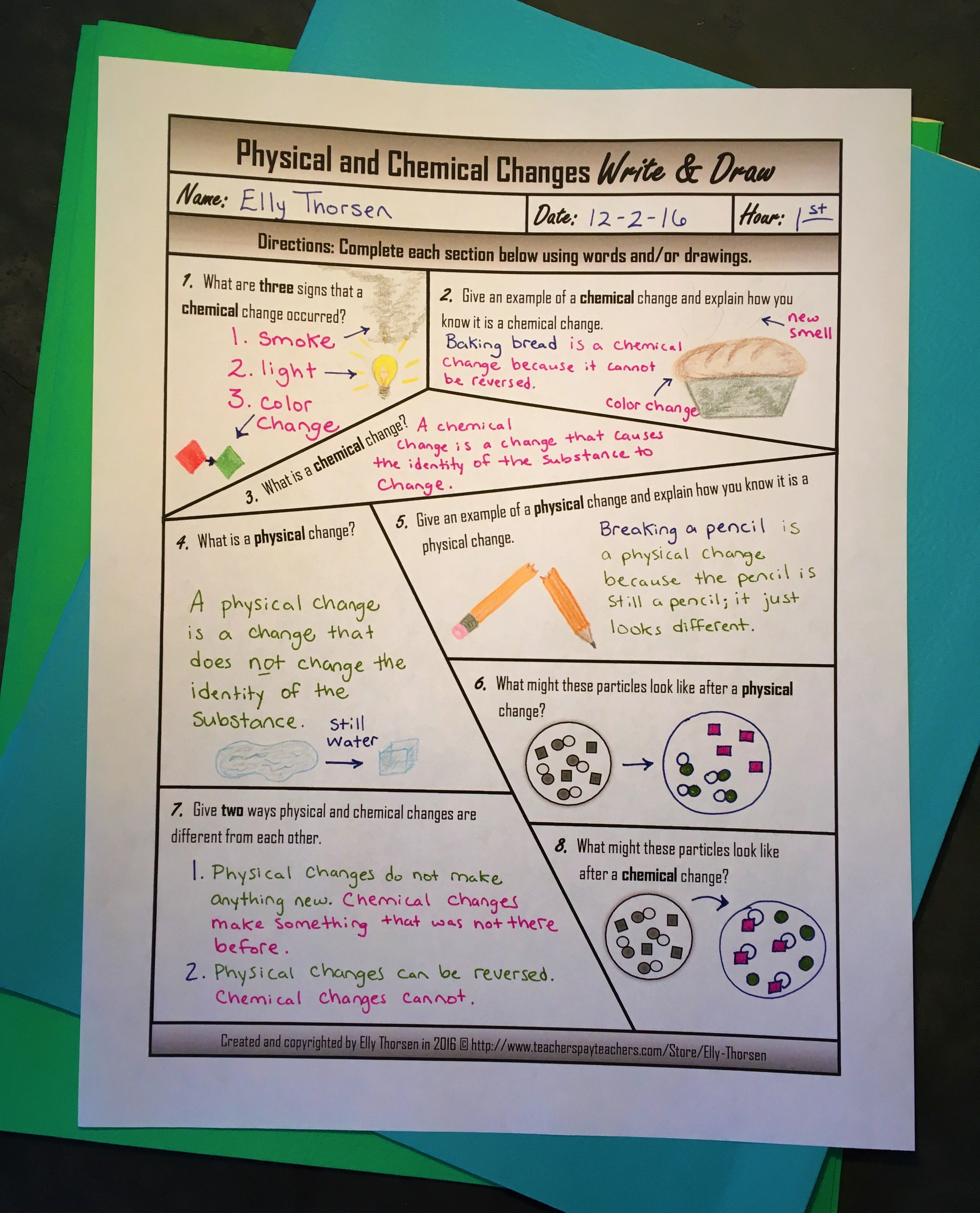 Physical And Chemical Changes Write And Draw Worksheet