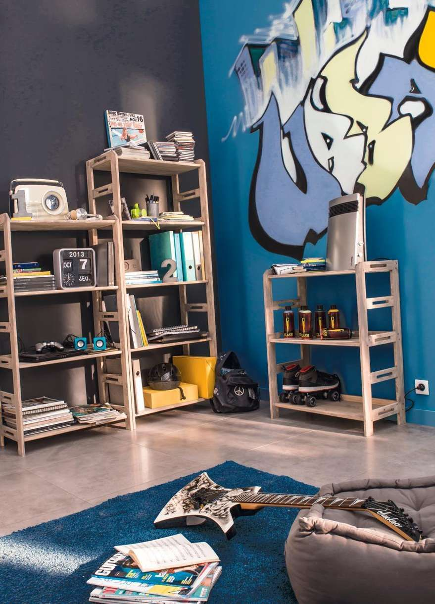 papier peint grafitti chambre ado garcon mr bricolage. Black Bedroom Furniture Sets. Home Design Ideas