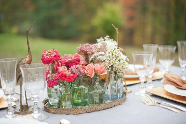 Vintage centerpiece using a mirrored tray and