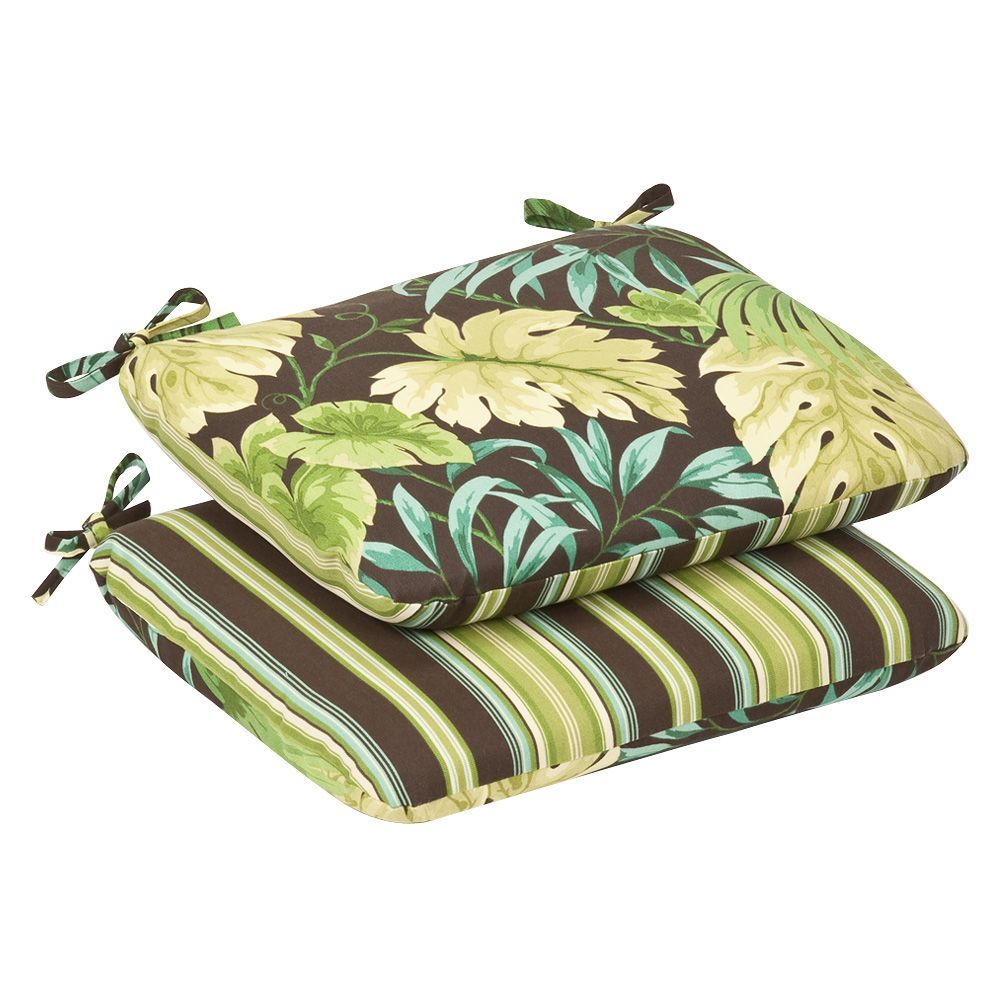 Pillow Perfect Outdoor Green/Brown Tropical/ Striped