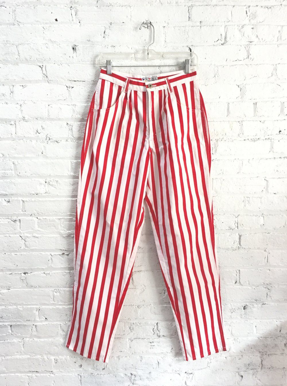 eb8b7b5e33 vintage 80s candy striper jeans / red and white striped mom jeans ...