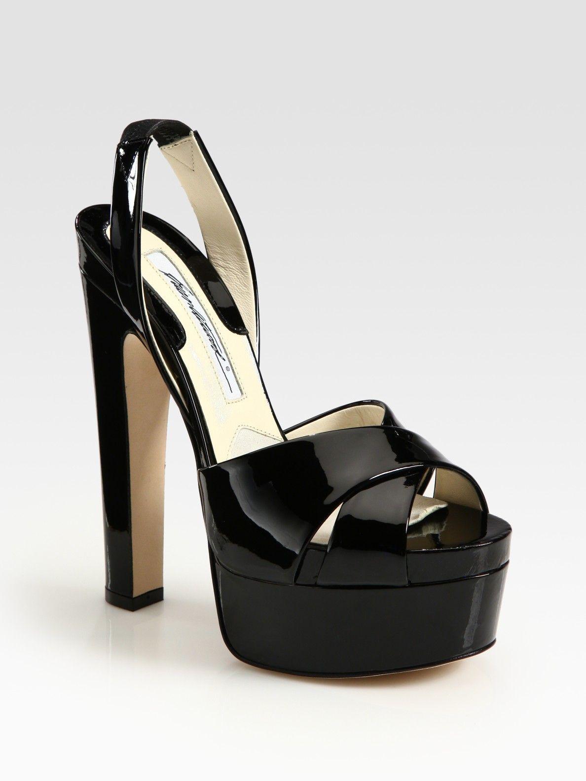 45c55143377 Brian Atwood Manhattan Patent Leather Slingback Platform Sandals in Black