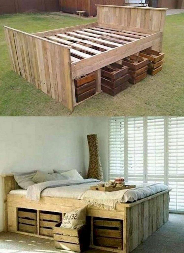 60 Elegant Bed Storage Ideas For Small Spaces Pallet Furniture Bed Storage Storage Hacks Bedroom