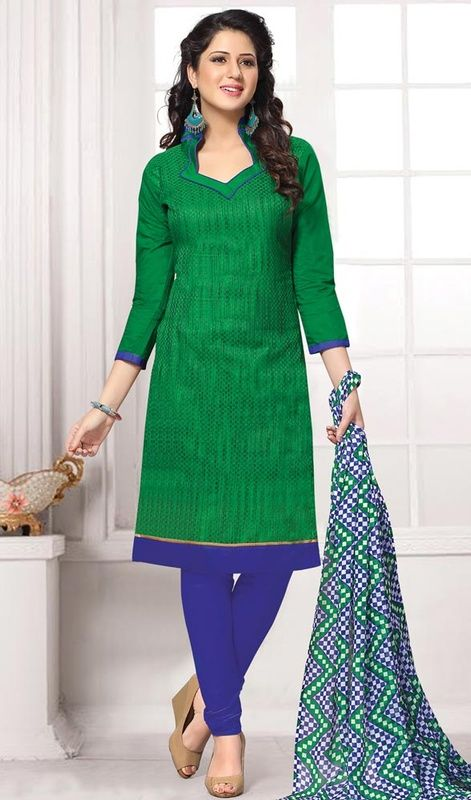 Redefine your day with an extraordinary silhouette with this churidar suit in green and blue color cotton. The incredible dress creates a dramatic canvas with astounding lace and resham work. #greencolordress #cottonsuitdesign #onlinecottondresses