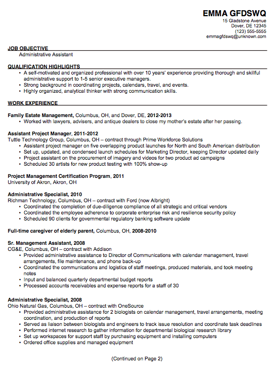 chronological sample resume administrative assistant