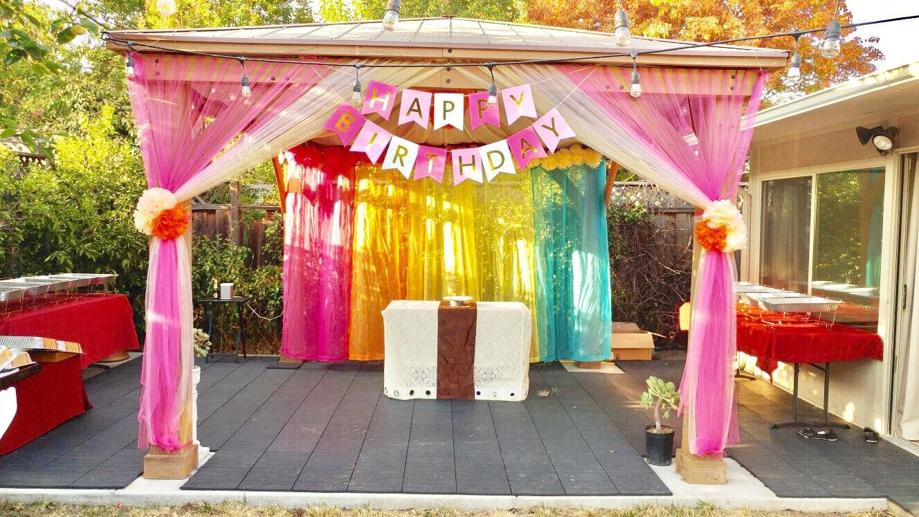 Backyard gazebo decoration for birthday party  Backyard