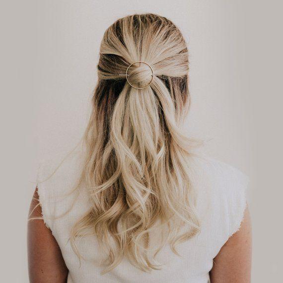 Minimal Silver Hair Pin Round Hair Piece Simple Hair   Etsy