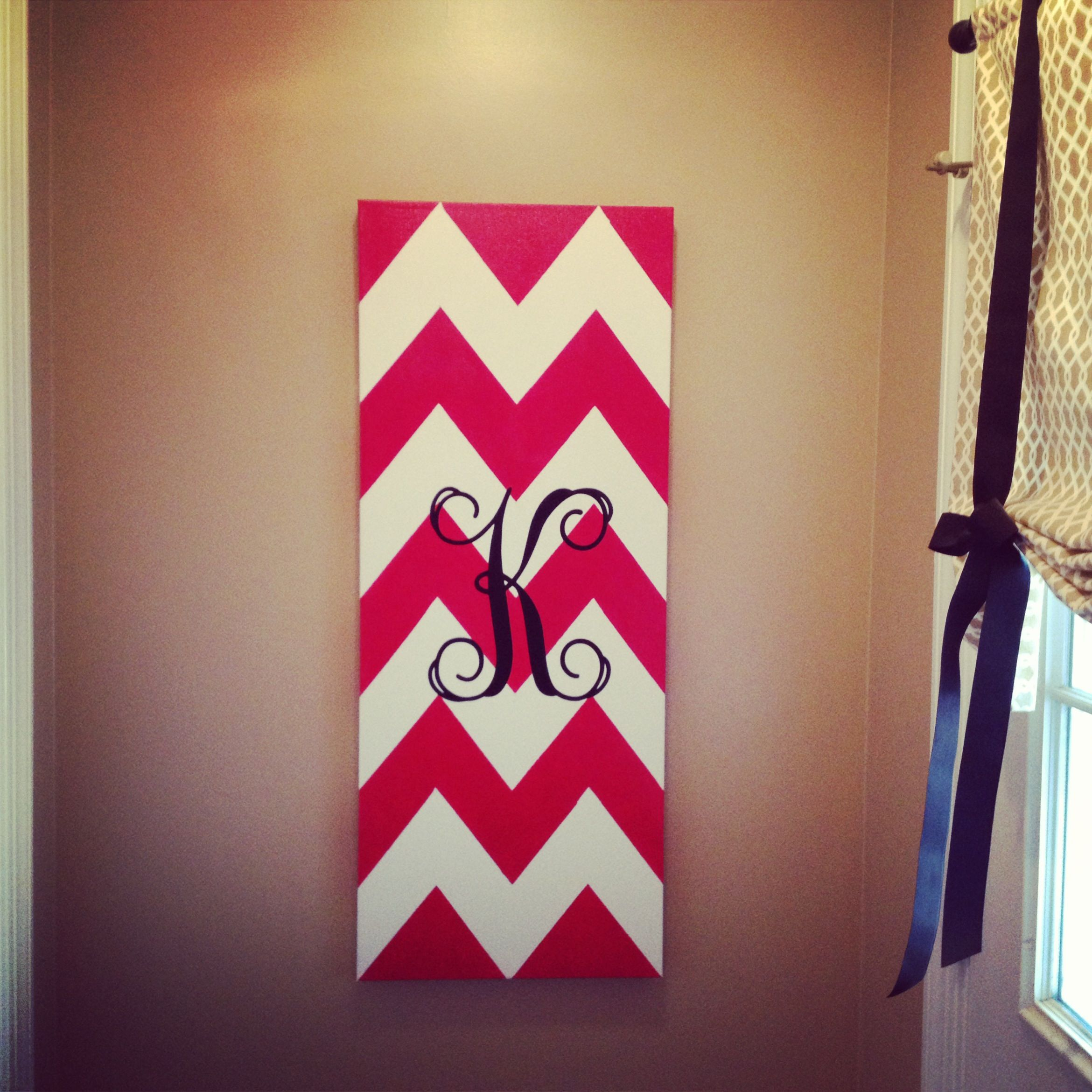 Chevron Painted on Canvas with monogram- This covers my ugly fuse box!