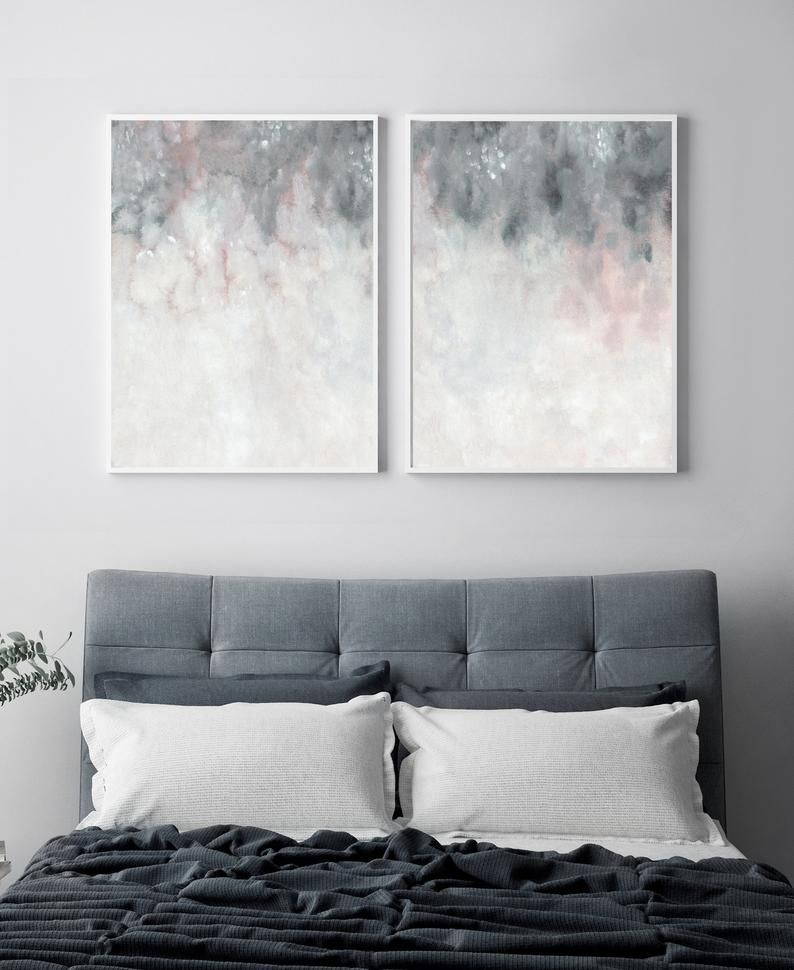 Pink Grey Wall Art Printable Art Bedroom Print Set Set Of Etsy