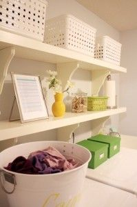 shelves for laundry- replace wire utility shelves with sturdier wood shelves and cabinets.