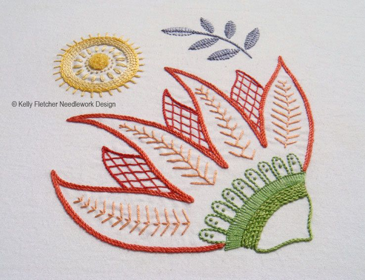 Burnesque Modern Jacobean crewel hand embroidery pattern by KFNeedleworkDesign on Etsy