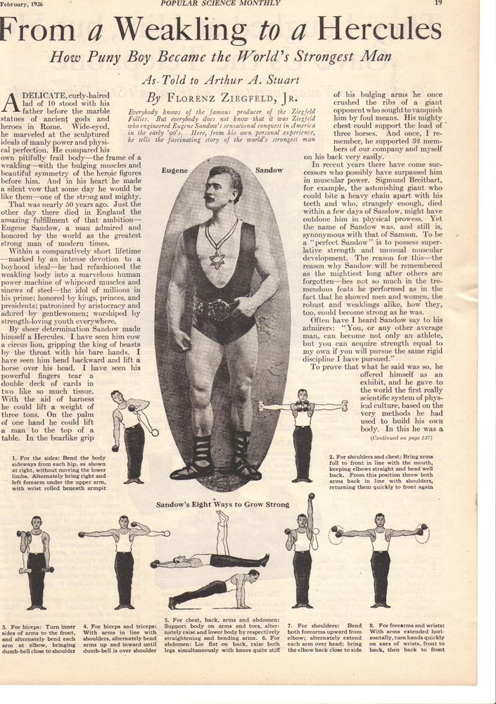FEB 1926 MAGAZINE PAGE COPIES EUGENE SANDOW FROM A WEAKLING TO HERCULES MAGAZINEPAGECOPIES