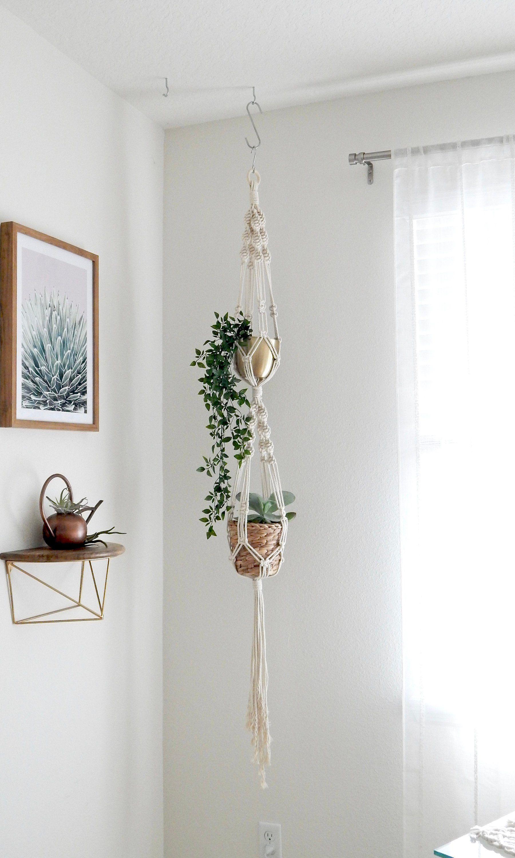 Double Macrame Plant Hanger Hanging Planter Vertical Garden Etsy