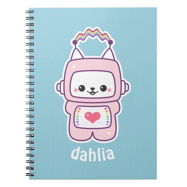 Cute Pink Cat Robot Notebook