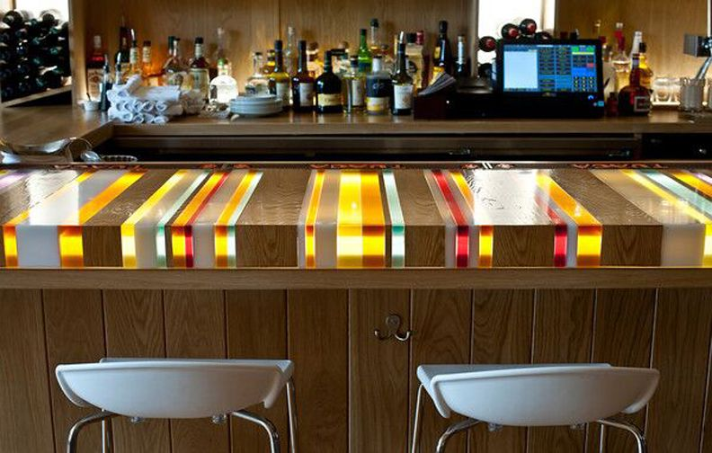 Delicieux 1 Striped Resin U0026 Inlaid Wood Bar Top And Back Light