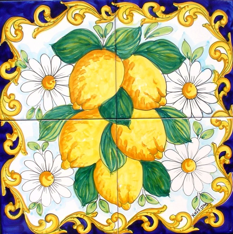04 pannello mattonelle vietresi limoni margherite blu.jpg (800×802 ...
