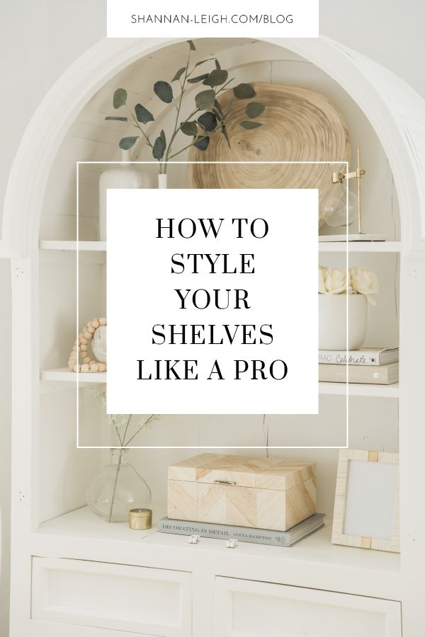 How to style shelves at home is one of the most common questions I get asked. If you want to master bookcase or shelf styling throughout your house, just follow these 5 easy steps. #shelfstyling #interiorstyling #interiordesign #homedecor