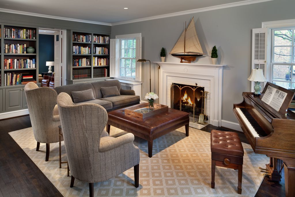 Traditional Living Room With Ethan Allen Madison Sofa Custom Fabric, Shalom  Brothers Broadway Ivory