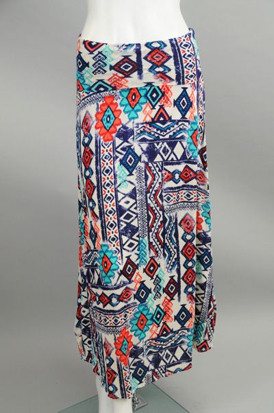 Navy & Red Aztec Print Foldover Maxi Skirt #sageclothing