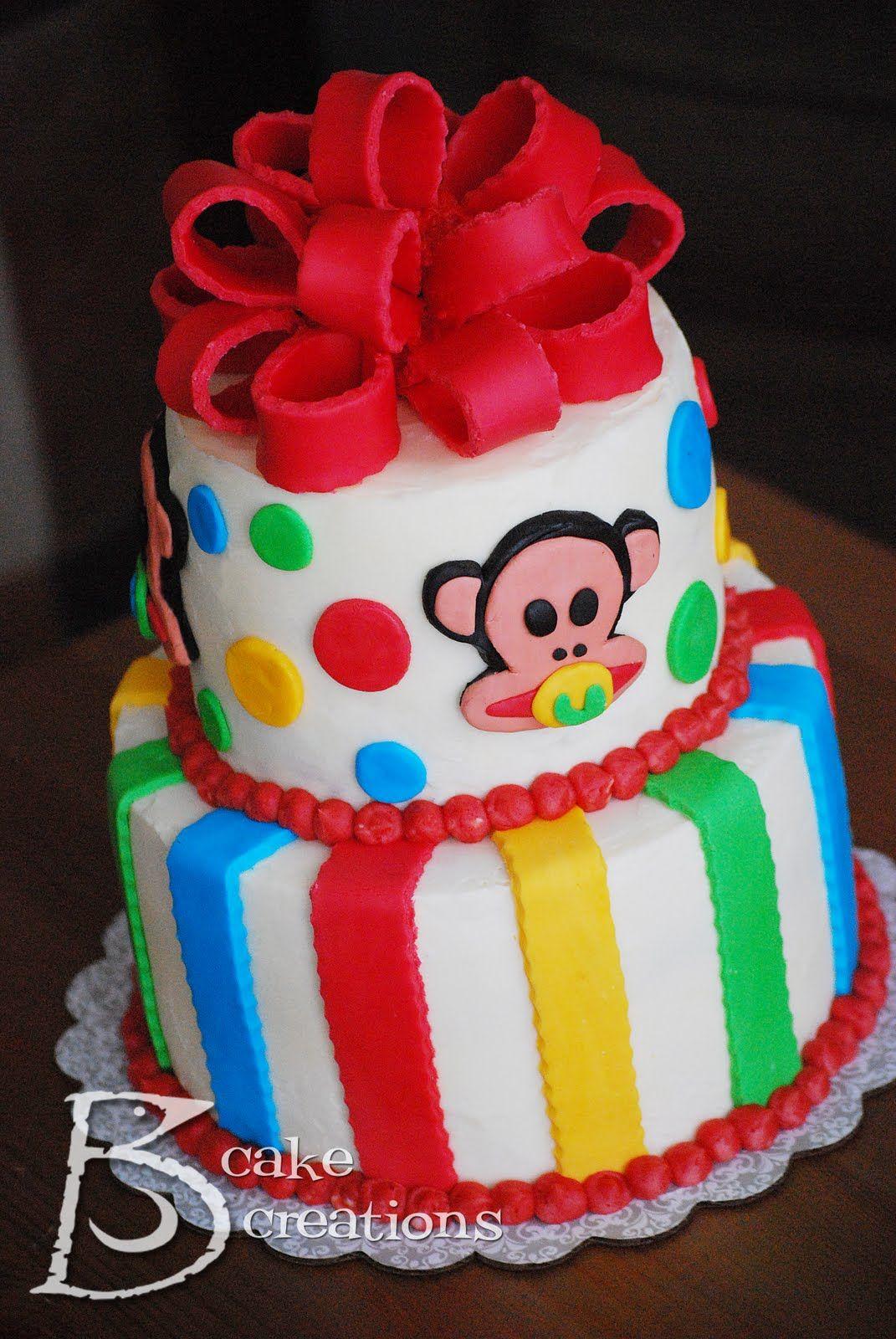 Jaybird Creations: Cake Decorating - Paul Frank Monkey Baby Shower Cake & Cookies