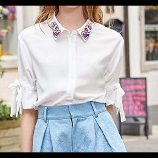 بلوزة سكري شيفون تطريز القلوب الملونة Long Sleeve Blouse Fashion Ruffle Blouse